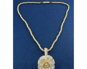 Antique Carved Bone Rose Pendant, Carved Beads Necklace, Barrel Clasp