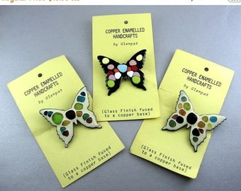 1960's Butterfly Pins - Enamel on Copper, Colorful, On Original Cards - Vintage Hippy Chic