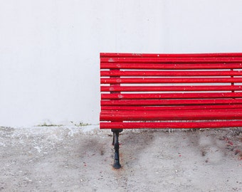 Red Bench Photography,Travel Photography, Minimal Photography, White, Red Print, 8x10 Print, Home Decor, Red Decor, Red Fine Art Print