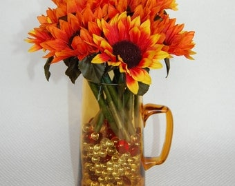 Set of 12 Orange Sunflower Pens Fall Decor Limited Edition made with BIC Pens Black Ink One Dozen Office Floral Anti-Theft Pens