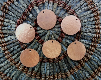"6 Copper Circles 1"" - Textured - Earring Pendant Jewelry With Hole for Hanging"
