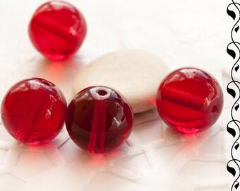 13 mm Czech Round Glass Beads, Garnet Red/Ruby 4 pcs