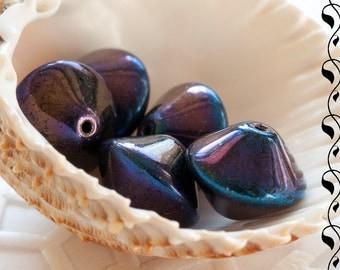 Czech Glass Rivoli 10x12 mm Violet Finish 6 pcs