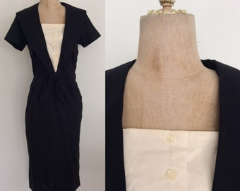 1960's Black Cotton Wiggle Dress with Tuxedo Bust Vintage Dress with Sailor Collar Size Small Medium by Maeberry Vintage