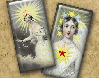 STAR FAIRIES 1x2 inch Domino Art - Digital Printable collage sheet for Pendants Magnets Crafts...Astronomy Fantasy by JJ Grandville