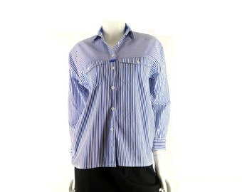 Crisp Striped Shirt, Button Up Blouse Vintage 1980s 4o Inch Chest, Fits Small Medium