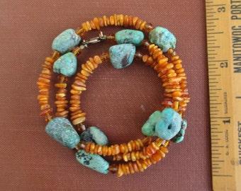 Turquoise & Amber Like Stones Necklace - Vintage Handmade, Southwestern