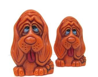 Dog Salt and Pepper Shakers Vintage Orange Long Faced Sad Face Home Decor Kitchen Kitsch 1970s