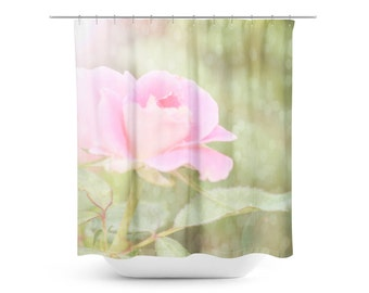 Rose Bathroom Decor - Floral Shower Curtain - Pink and Green Decor - Ethereal Home Decor - Flower Photo - Art Bathroom - Bokeh Home Decor