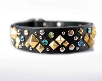 Luxury Dog Collar, Crystal Dog Collar Leather Jeweled Leather Dog Collar Leather Dog Collar Jewelled Extra Large Dog Collar, Dog Collar Cool