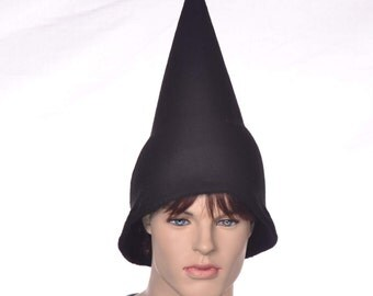 Black Wizard Hat Oversized Pointed Cap Gnome Pointed Elf Hat Adult Women Man Costume Hat Pointy Student Sorcerer Black Witch Hat