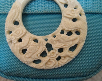Natural Carved Dragon Earrings