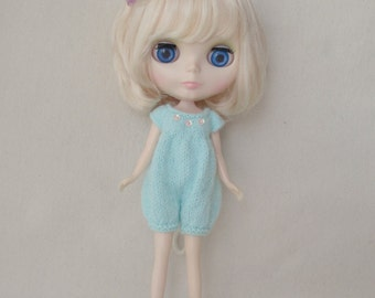 Mint Green Knitted Romper for Blythe