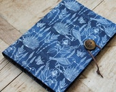 SALE! Large bird and meadow flowers print fabric covered notebook - A5 removable fabric cover.