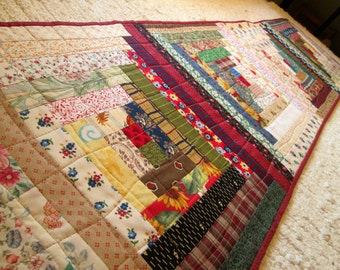 Quilted Log Cabin Long Table Runner