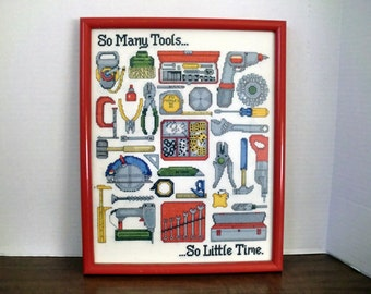 Cross stitch boy/man tool sign/ picture/wall hanging frame
