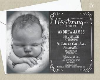 Chalkboard Birth Announcement - Shower Invitation - Christening Invitation