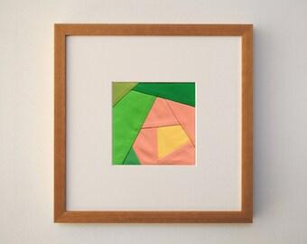 "Flower Block (12"" x 12"" Frame) – One of a Kind Pieced Fabric Art"