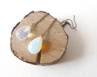 Drop opalite transparent dangle earrings  ( bobo, gypsy caravan ) 01