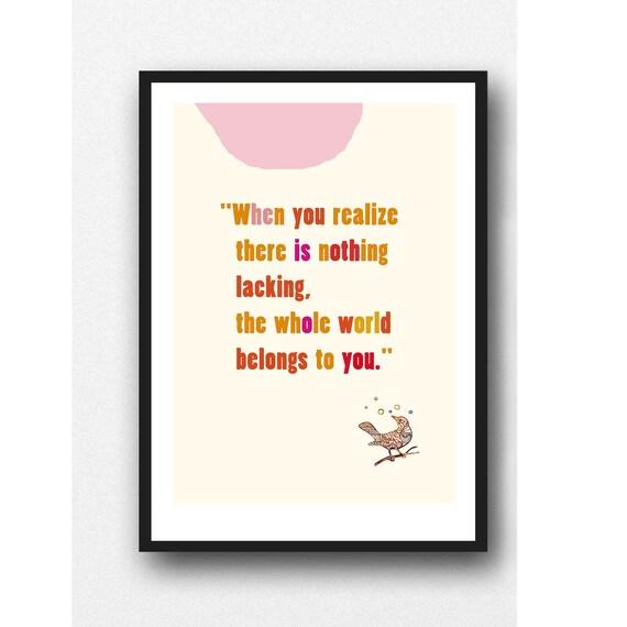 Coworker gift 2016 Inspirational wall art / Zen wall art quote / pink orange typographic print