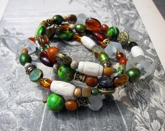 Earthy Natural Bohemian Mixed Bead Wrap Bracelet