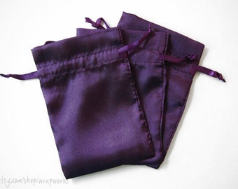 10 4x6 Deep Purple Satin Bags with Drawstrings - Wedding Favor Bags, Sachets, Gift Bags, Jewelry Bags