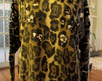 Vintage Retro Animal Print Top/Lambswool and Nylon/Beaded/Pink and Silver Sequin Embellishment