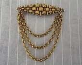 Vintage Basket Weave and Chain Dangles Festoon Brooch Pin Gold Tone Metal Elegant Jewelry Bar Pin