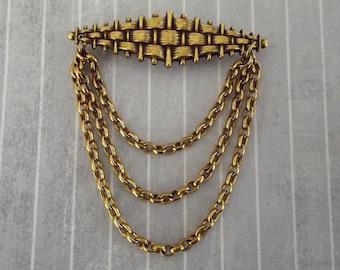 Vintage Basket Weave Pin, Chain Dangles Festoon Brooch, Gold Tone Metal, Elegant Jewelry, Bar Pin
