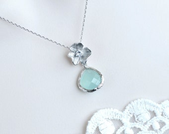 Mint Teardrop and Flower Necklace, Bridesmaid Necklace, Mint Wedding Necklace, Mint Glass Teardrop and Matte Rhodium Plated Necklace,