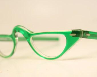 Green Cat eye reading glasses vintage glasses frames cat eye readers