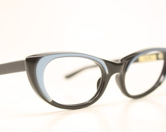 Cateye Glasses Black Blue vintage cateye frames NOS