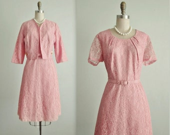 50's Lace Dress & Jacket  // Vintage 1950's Pale Pink Lace  Full Cocktail Party Dress Jacket Set L