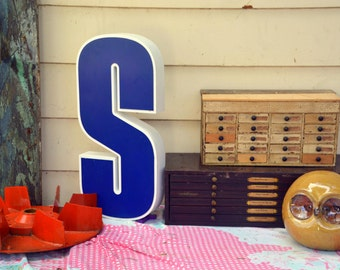 Vintage Metal Marquee Sign Letter Capital 'S': Large Blue & White Wall Hanging Initial -- Industrial Neon Channel Advertising Salvage