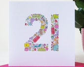 Girlie Things 21st Birthday Card - Birthday Card for Her
