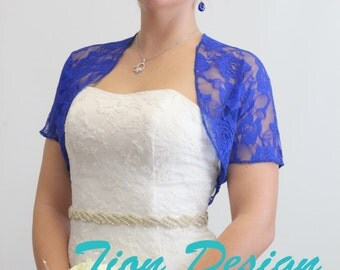 Bridal lace jacket, Royal Blue  bridal Lace Bolero, wedding shrug With Short Sleeve 720ROS-RoBLUE