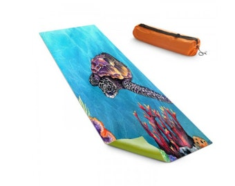 Yoga Mat Seaturtle Ocean Watercolor Painting - Exercise Mat