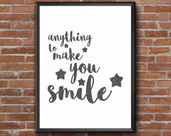Typography Art Print - Smile, part 2 v1 - 2 of 2 - band of horses song lyrics - glam faux black glitter script fab wall art gift under 25