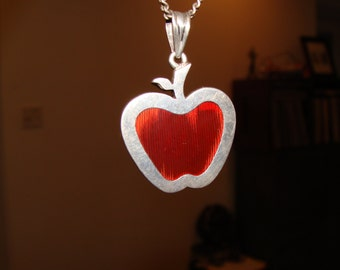 Sterling and Glass Apple Pendant with Sterling Chain Teacher Gift!