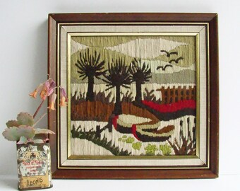 Long Stitch Needlework Tapestry, Framed Needlepoint, 1980s Wall Art, Muted Colours