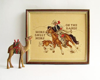 Home Sweet Home, Cross Stitch, Home On The Range, Cowboy on Horse, Rounding Up Cattle