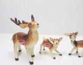 Miniature REINDEER. Reindeer FAMILY. Miniature Deer. Reindeer FIGURINE. vintage 1970s. Miniature Figurine. Woodland Animal. gift idea.
