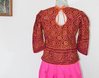Maroon Sparkly Indian Boho Tunic // 1970s // Size Small