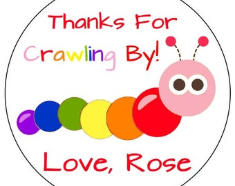 rainbow caterpillar birthday stickers, pink caterpillar party stickers, rainbow girl caterpillar birthday labels, 3 sizes available