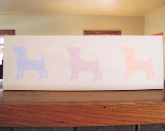 Jack Russell Terrier Dog Wall Art Yellow Canvas 8 x 24 Nursery Decor Dog-Lover's Vet Office Decoration Dog Art Upcycled Wallpaper hound dog