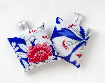 Set of Two Silk Lavender Sachets Bags in Japanese kimono Silk Fabric