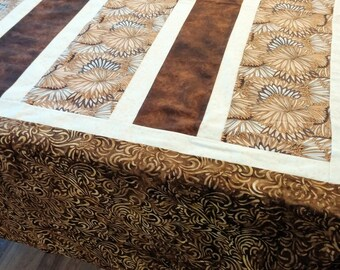 """tablecoth 62"""" x 84"""" handmade - brown floral - free shipping"""