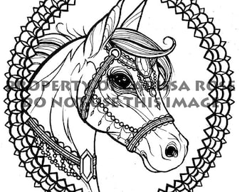 digital download print your own coloring book outline page tattoo flash horse by carissa rose - Print Your Own Coloring Book