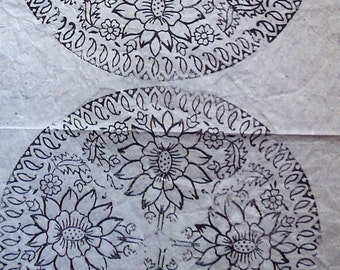 Sheet of white tissue paper printed with Indian lotus design woodblock