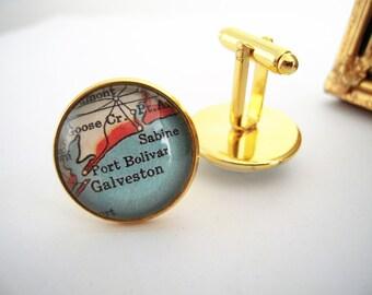 "Custom Map Cuff Links, Galveston Port Bolivar Sabine Texas 3/4"" 20mm Mens Jewelry Gift Ideas Groomsmen Cuff Links Mens World Travel"
